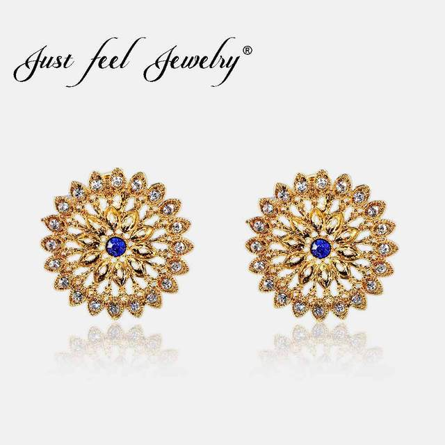 Just Feel Vintage Flower Circle Crystal Stud Earring Gold Color Middle Eastern For Women Fashion