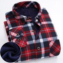 570c575c686 FillenGudd плюс размеры 8XL зимние мужские плед термальность рубашки для  мальчиков с длинным рукавом теплый красный