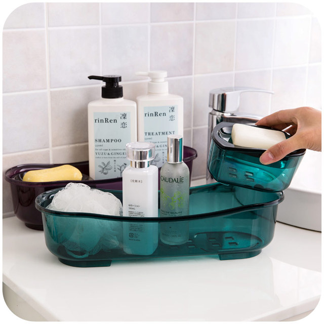 bathroom supplies. Rectangular Double Organizer Plastic Box Cosmetic Sponge Holder Drain  Basket Rack For Kitchen Bathroom Supplies
