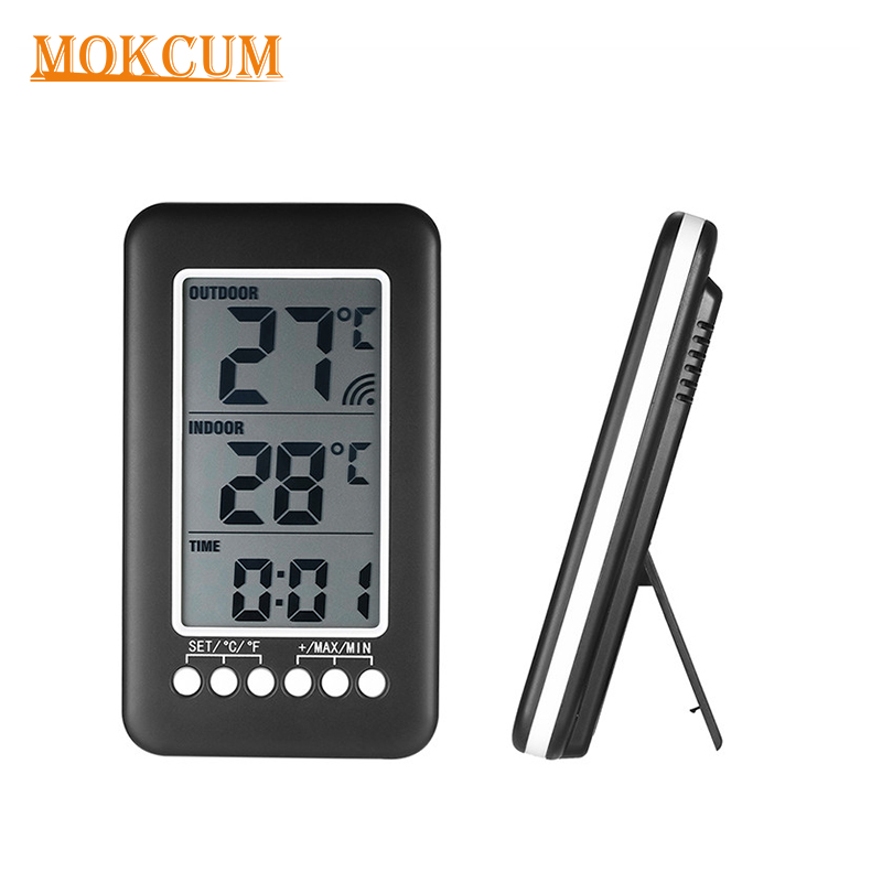 LCD Digital Hygrothermograph Wireless Transmitter Thermometer Weather Station Clock Gauge Humidity Meter Indoor Outdoor Sensor wireless weather station digital color lcd thermometer forecaster clock indoor outdoor humidity meter with remote sensor 50% off
