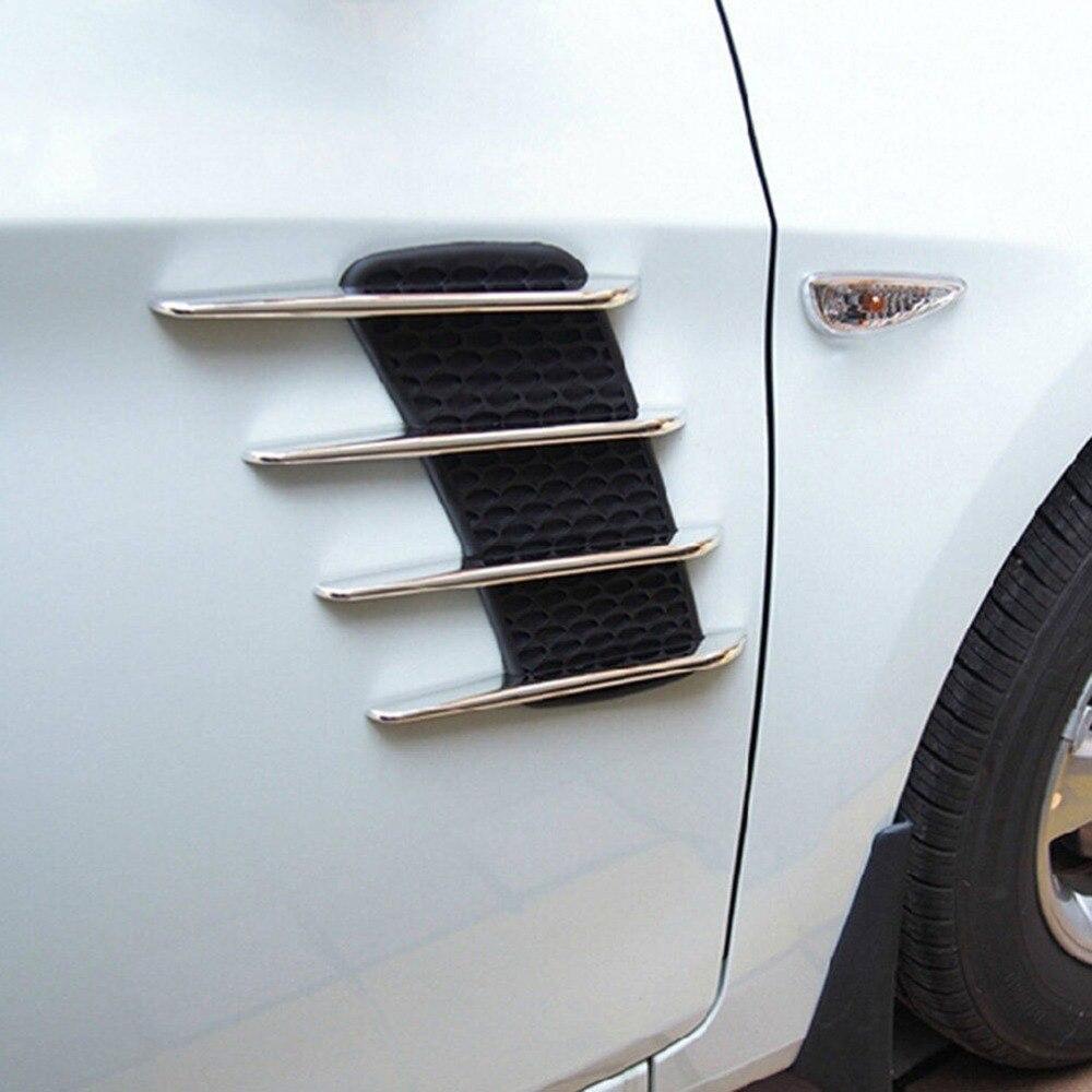2 Pcs Requin Branchies 3D Vent Air Flow Fender Chrome Alliage métal Autocollant Autocollant De Voiture ou Camion Personnalisé Autocollants De Voiture-style de Baisse gratuite