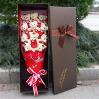 Best selling teddy bear plush toys with fake roses cartoon fashion flowers bouquet gift box Valentine's day birthday gifts