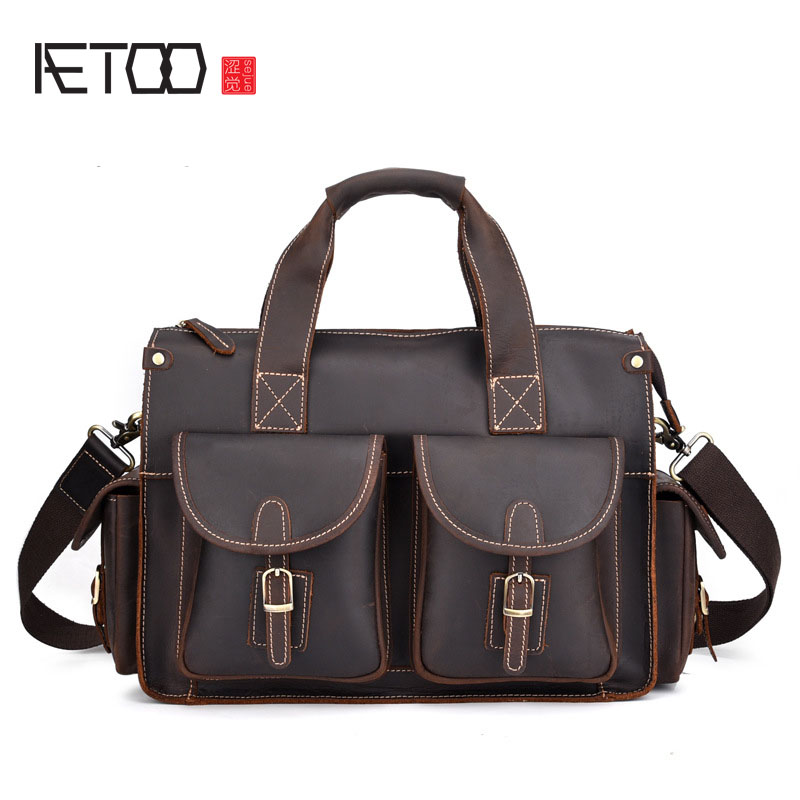 AETOO New Crazy Horse Leather Men's Briefcase Retro Laptop Bag Crazy Horse Shoulder Messenger Bag designer second layer crazy horse leather briefcase men messenger shoulder bag laptop bag maletin hombre negocios bookbag b00021