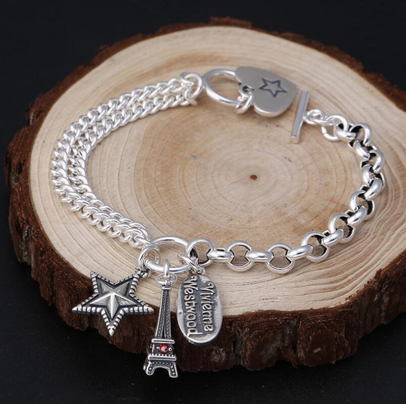 925 Bracelet tour Eiffel en argent Sterling femme rétro S925 Bracelet (FGL) - 3