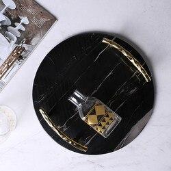 Europejski czarny marmur okrągła taca luksusowe uchwyt ze stali nierdzewnej płyta z biżuterią ozdobny talerz