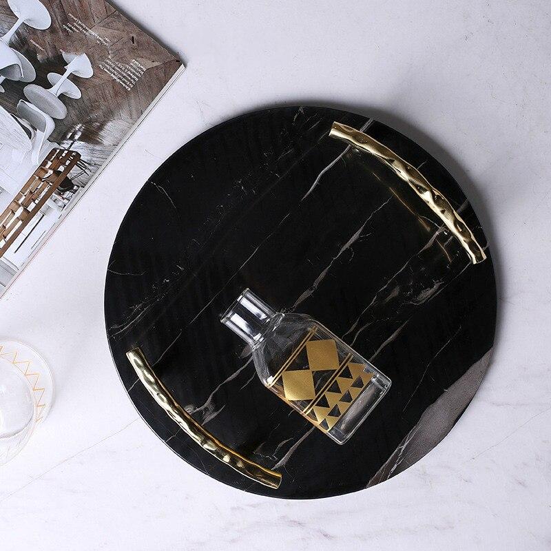 Plateau rond en marbre noir européen | Plaque de luxe en acier inoxydable, poignée plaque à bijoux, plaque décorative