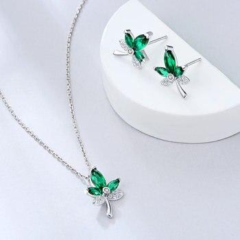 E joyería verde hoja de arce 925 Plata de Ley colgante collar pendientes conjunto de joyas con circonita AAA para mujer chica delicada regalo