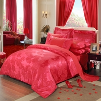 Red satin comforter set romantic roses Chinese wedding bedding set print modern suits jacquard bedclothes set queen king size.