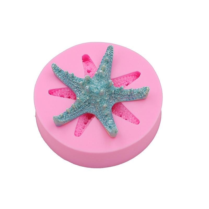 Sangkakala ikan karang starfish kek cecair silikon coklat sabun cetakan pencuci mulut hiasan cetakan kek DIY baking alat-alat kecil biskuit acuan