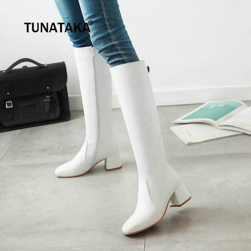Femmes Mode Épais Talon Haut Bottes Hautes Côté Fermeture Éclair Hiver Femmes Chaussures Blanc Noir