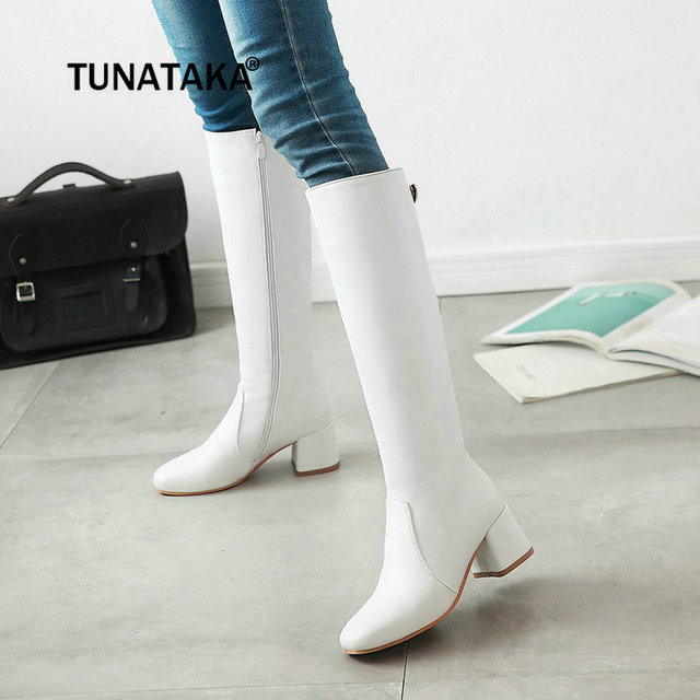 93b1a8423e4 Women Fashion Thick High Heel Knee High Boots Side Zipper Winter Women Shoes  White Black