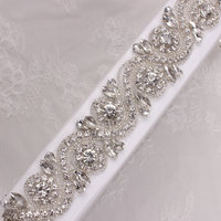 1yard Beaded Hot Fix Sliver Clear Bling Sew On Crystal Rhinestone Applique Trimming For Dress
