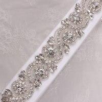 (1 yard) kralen Hot Fix Sliver Clear Bling Naaien Kristal Strass Applique Trimmen voor Jurk DIY Bruids Riem Hoofdbanden Kousenband