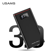 USAMS LED Power Bank 10000mah Type C 18W PD QC3.0 Charger Powerbank for Samsung Dual USB Ultra-thin External Battery for iPhone(China)