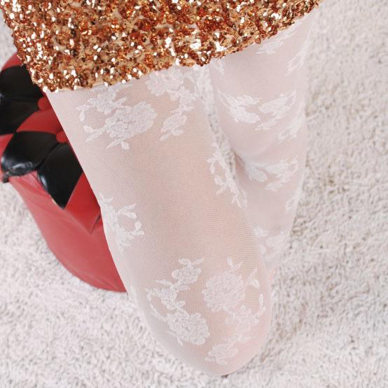 Frete grátis Rose flores de seda jacquard meias pretas branco anti gancho Laço a céu aberto padrão T virilha meia-calça de Seda fino Tigh