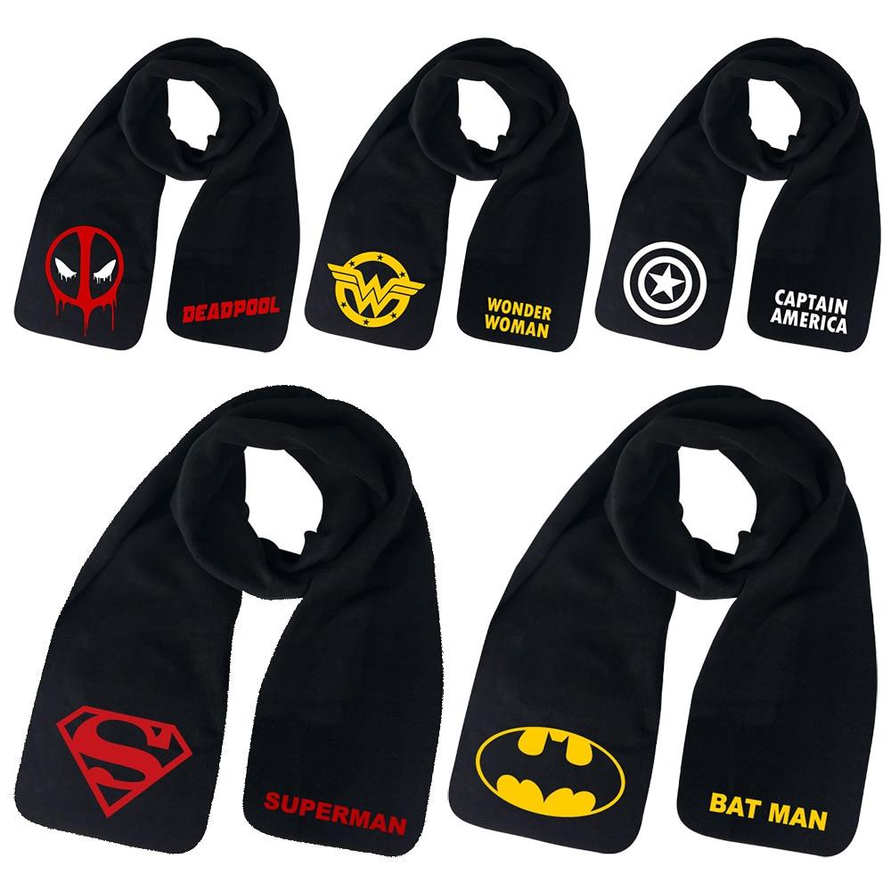 2018 Christmas Gift Batman Superman Deadpool Print Unisex Boy Girl Student Teenagers Shawl Men Women Winter Warm   Scarf   Soft   Wrap