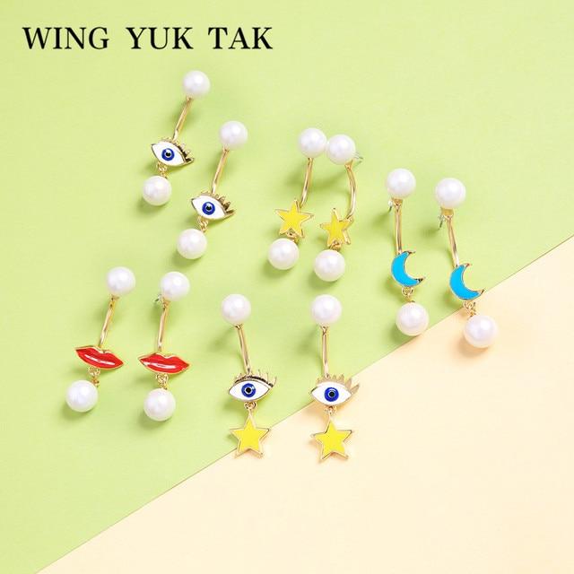 92147e23370d Ala yuk tak pendientes lindo coreano amarillo esmalte estrella simulado  perla pendientes para las mujeres Oorbellen