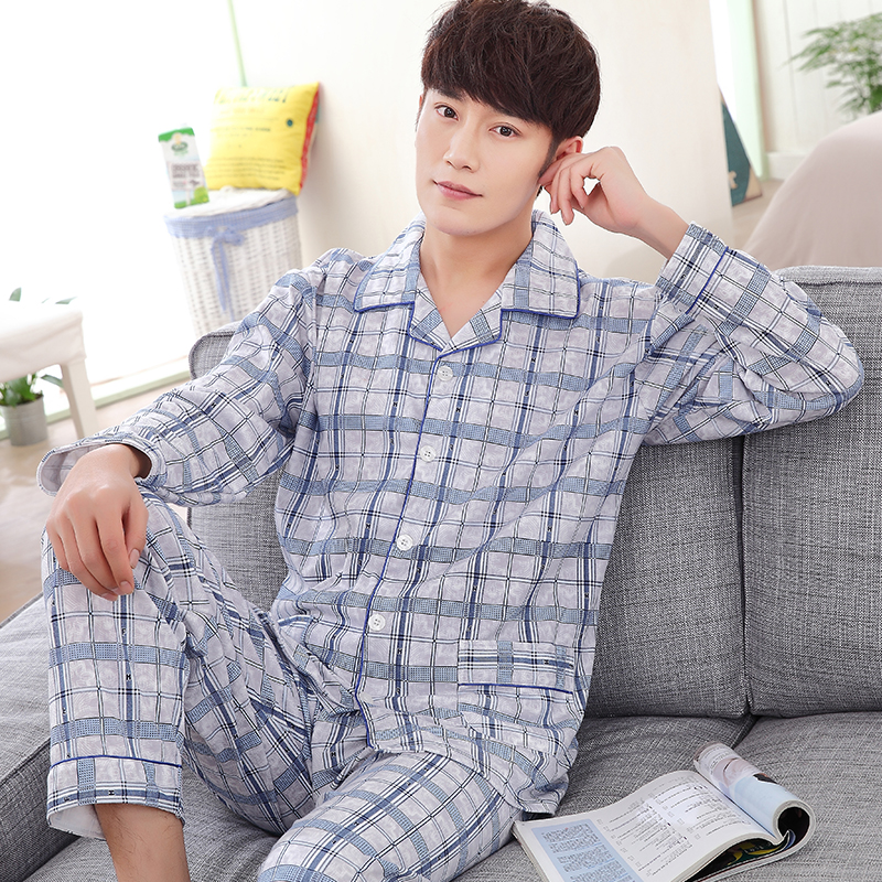 Spring and autumn men's casual tracksuit long-sleeved cotton cardigan pajamas men thick pijamas hombre plus size sleepwear XXXL