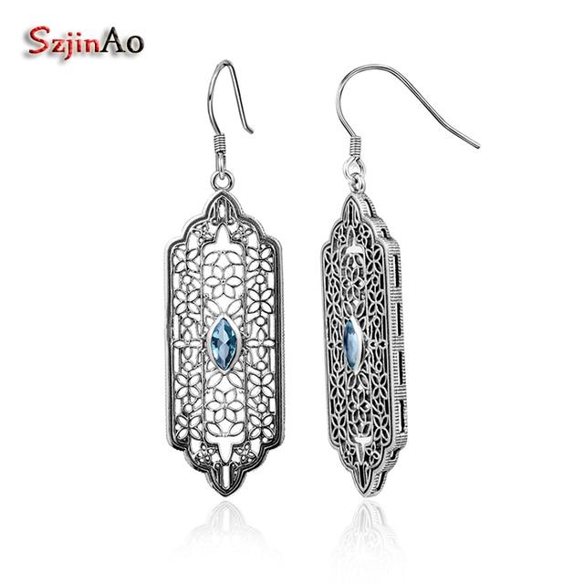 Szjinao Vintage Bohemian 925 Sterling Silver Long Aquamarine Earrings Indian Jewelry Ethnic Style Women Christmas Luxury