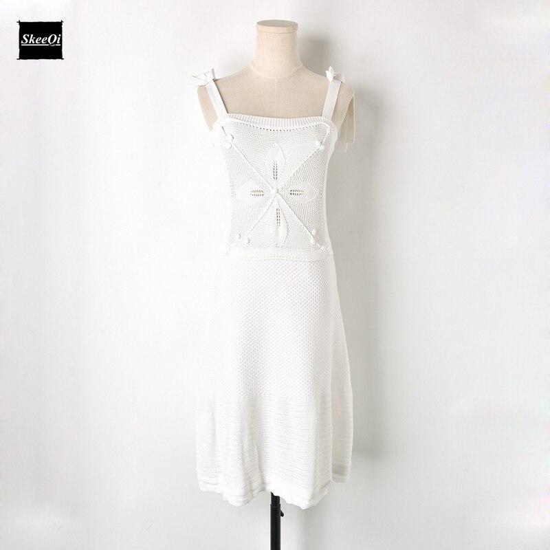 2018 New Slim Basic Knit Sweater Dresses Women Crochet Lace up Knitted White Casual Dress Spring Summer Dress Knitwear Vestidos