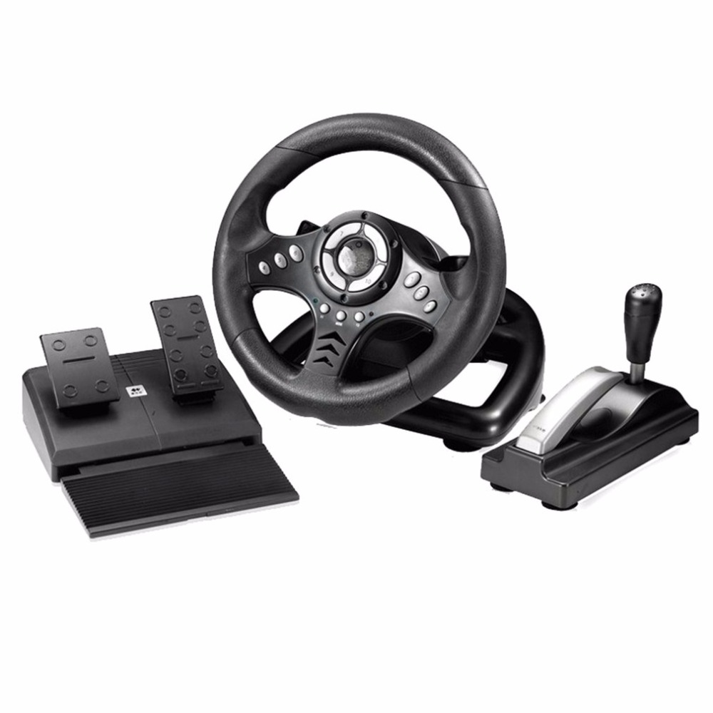 18S Vibration Racing Computer Games Steering Wheel Adjust Sensitivity PC Playing Game Steering Wheel Simulation To Drive ...