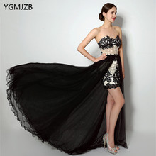 Elegant Black Mermaid Evening Dress 2018 with Detachable Skirt Sweetheart Beaded Appliques Evening Gown Long Formal Prom Dresses(China)