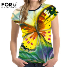 FORUDESIGNS 2017 Fashion Women T Shirt Summer Woman Tops 3D Butterfly Handle Painting Female T-shirts Crop Top Fitness Clothes