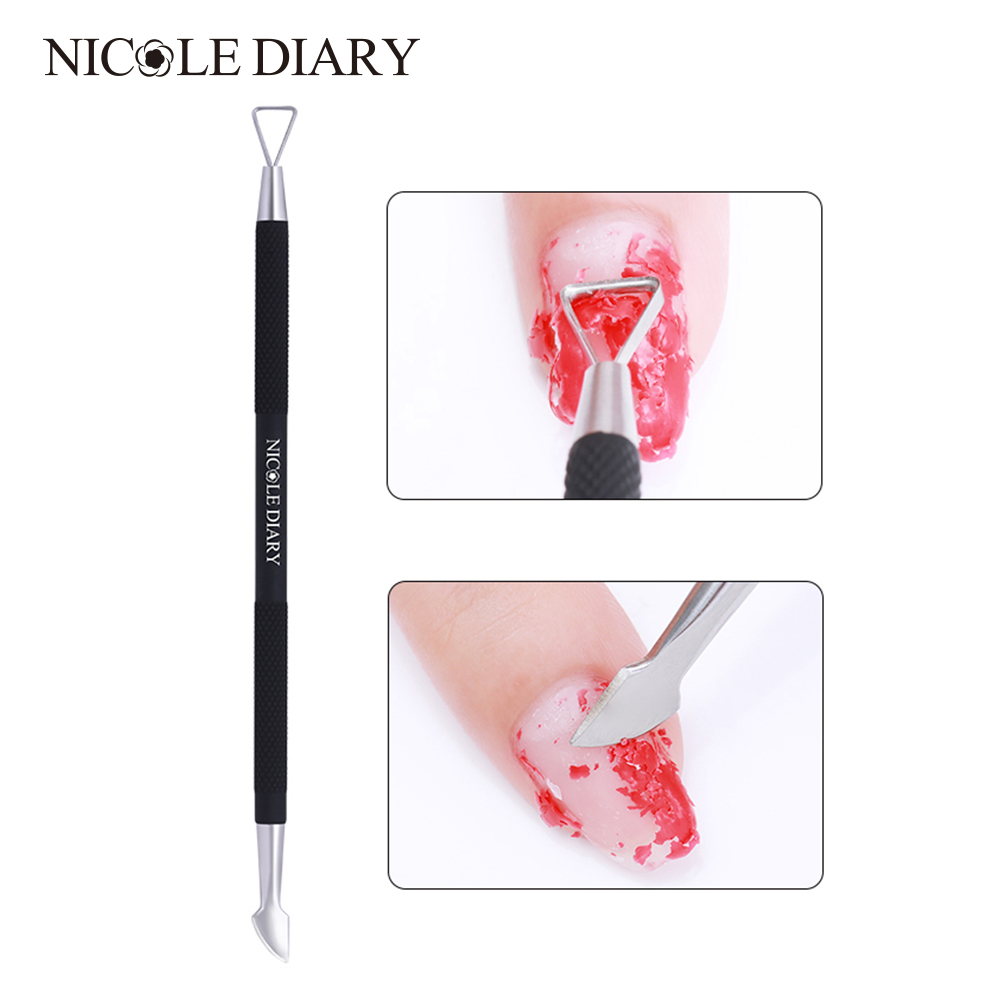 NICOLE DIARY Matte Black Dual-ended Stainless Steel Triganle Head UV Gel Polish Remover Nail Care Nail Art Tool 1 Pc