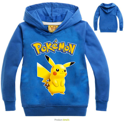 Pokemon Pikachu Print Hoodies Cartoon Children's Sweatshirts For Boy Outwear Coat Kids Clothes Cartoon Boys Girls Tops Costume