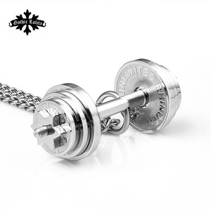 Image 5 - Dumbbell Splicing pendant necklaces Mens stainless steel fitness barbell Removal jewelry   mygrillz
