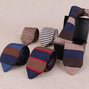 Mantieqingway 7cm Mens Stripe Ties Neckties For Wedding Korean Mens Knitting Tie Neckwear Trendy Popular Mens Knitted Brand Ties