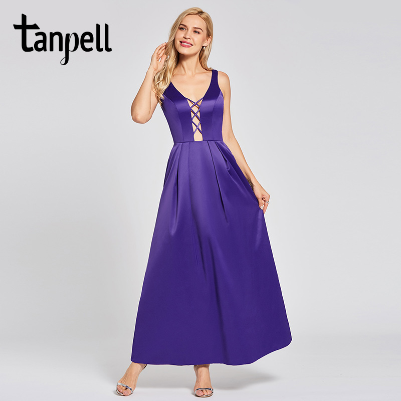 Tanpell sexy v neck evening dress noble regency sleeveless floor length a line gown lady prom