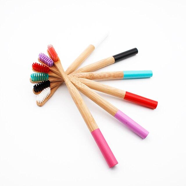 Cepillo de dientes de bambú Arco Iris 6 colores redondo mango de bambú cerdas negras adulto Tandenborstel mango de madera cepillo de dientes de bajo carbono