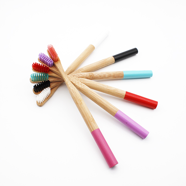 Rainbow Bamboo Toothbrush 6 Colors Round Bamboo Handle Black Bristle Adult Tandenborstel Wooden Handle Low carbon Toothbrush
