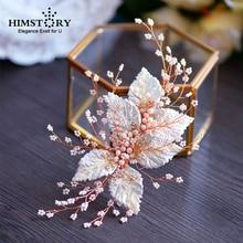 Pure Handmade Baroque Retro European Brides Barrette Headdress Gold Leaf PEarl Fruit Wedding Hair Accessorr
