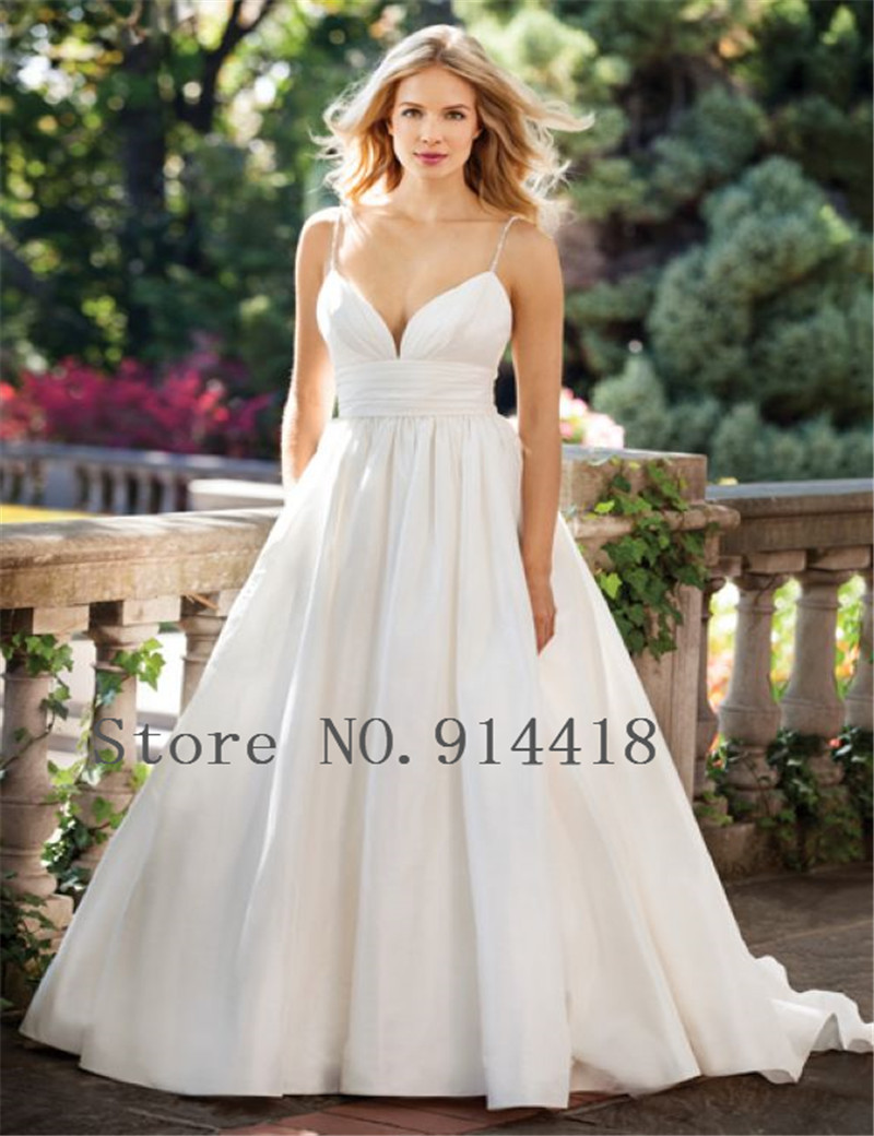 Spaghetti Straps Sweetheart Neckline Pleated Satin Floor Length ...