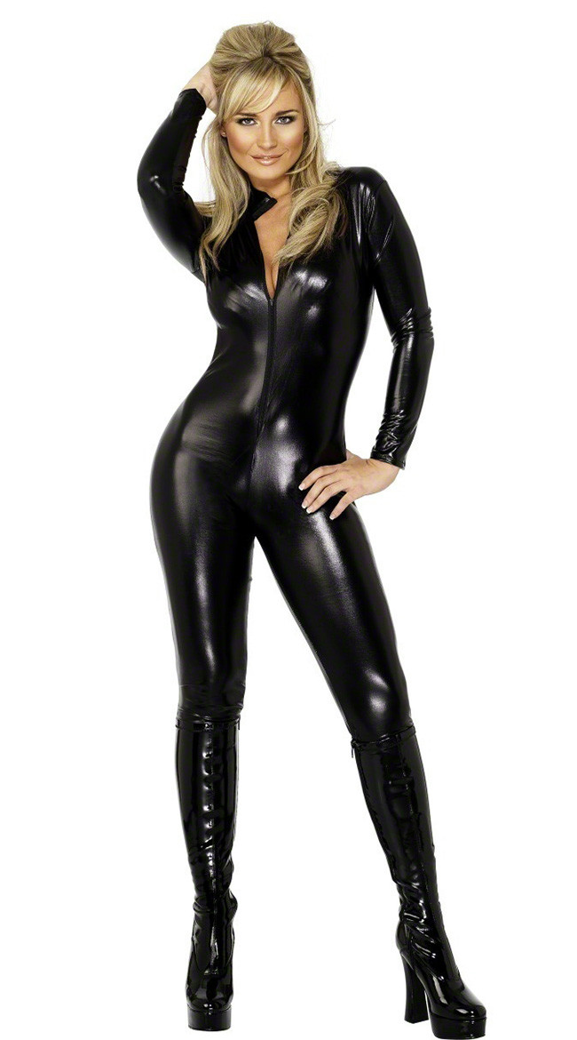 Adult Wet Look Vinyl Catsuit Faux Leather PVC Bodysuit Nightclub DS Costume