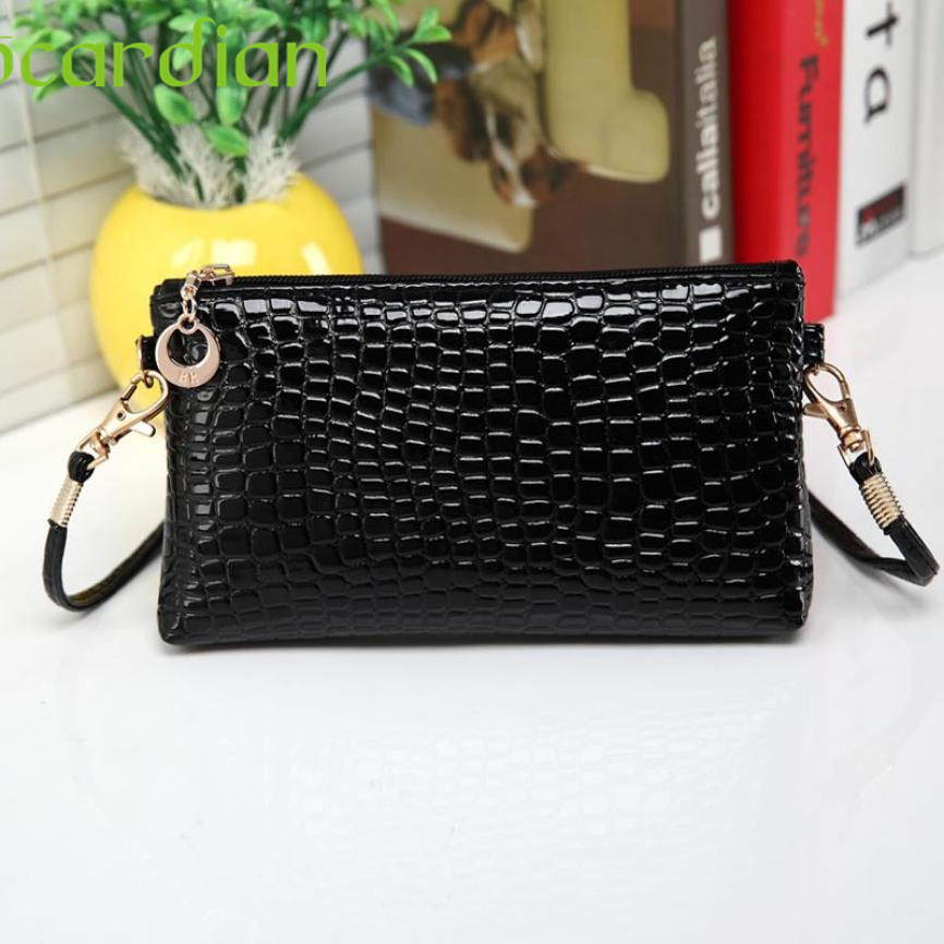 Elegance New Hot Women Crocodile Leather Messenger Crossbody Clutch Shoulder Handbag 17Mar09