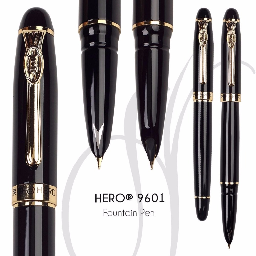 Fountain pen Original HERO 9601 Black 0.5 Hooded Nib  office and school stationery Free Shipping fountain pen curved nib or straight nib to choose hero 6055 office and school calligraphy art pens free shipping