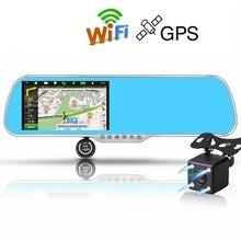 """Actualización 5 """"coche DVR Gps Wifi Android Full HD 1080 P Cámara de Doble Lente Del Coche Del Estacionamiento Del Rearview Mirror Cámara Grabadora de Vídeo"""