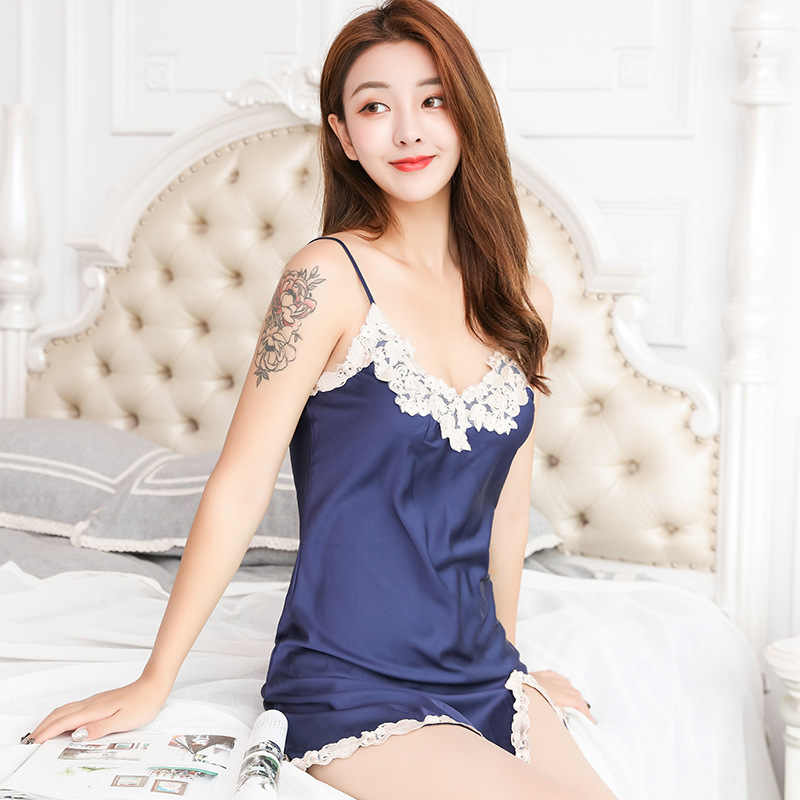 Women   sleepshirts   New ladies summer sexy silk thin sleeveless lace nightdress female   nightgown     sleepshirts   women sleepwear