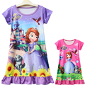 2018 Summer Dress Girl Pajamas For Children Nightgowns For Girls Fashion Sleepwear Kids Bathrobe Sofia Princess Nightgown 7Yrs