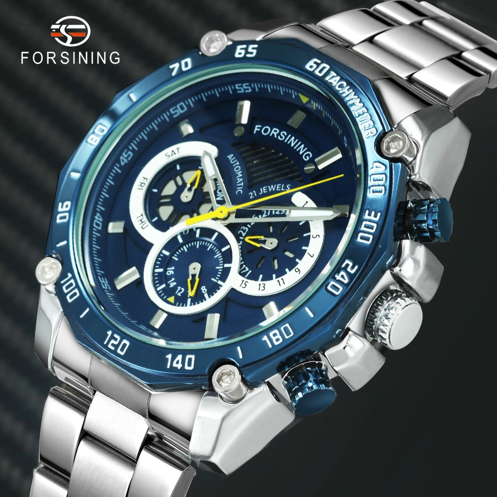 FORSINING Fashion Casual Auto Mechanical Watch Men Stainless Steel Strap Working Sub-dials Date Week Display Dress WristwatchesFORSINING Fashion Casual Auto Mechanical Watch Men Stainless Steel Strap Working Sub-dials Date Week Display Dress Wristwatches