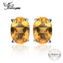 Jewelrypalace oval 1.4ct natural citrino birthstone stud pendientes esterlina del sólido 925 de plata 2016 nueva joyería fina para las mujeres