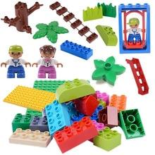 Bloques de construcción de juguete para niños con Base de puente levadizo y flores compatibles con Duploed