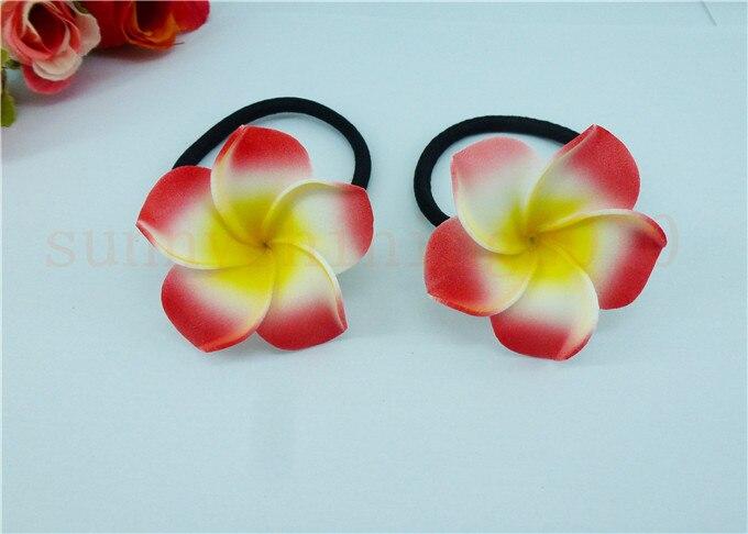 20 диаметр цветка украшение для волос ленты пены Гавайская Плюмерия эластичный с цветочным принтом Гавайский жасмин повязка на голову волос веревки - Цвет: red