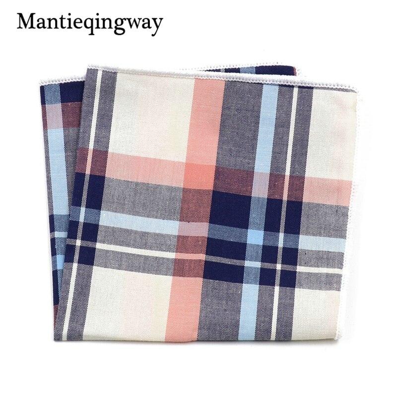 Fashion Casual Plaid & Striped Handkerchief Men Formal Wear Business Suit Pocket Square Handkerchiefs Cotton Hanky