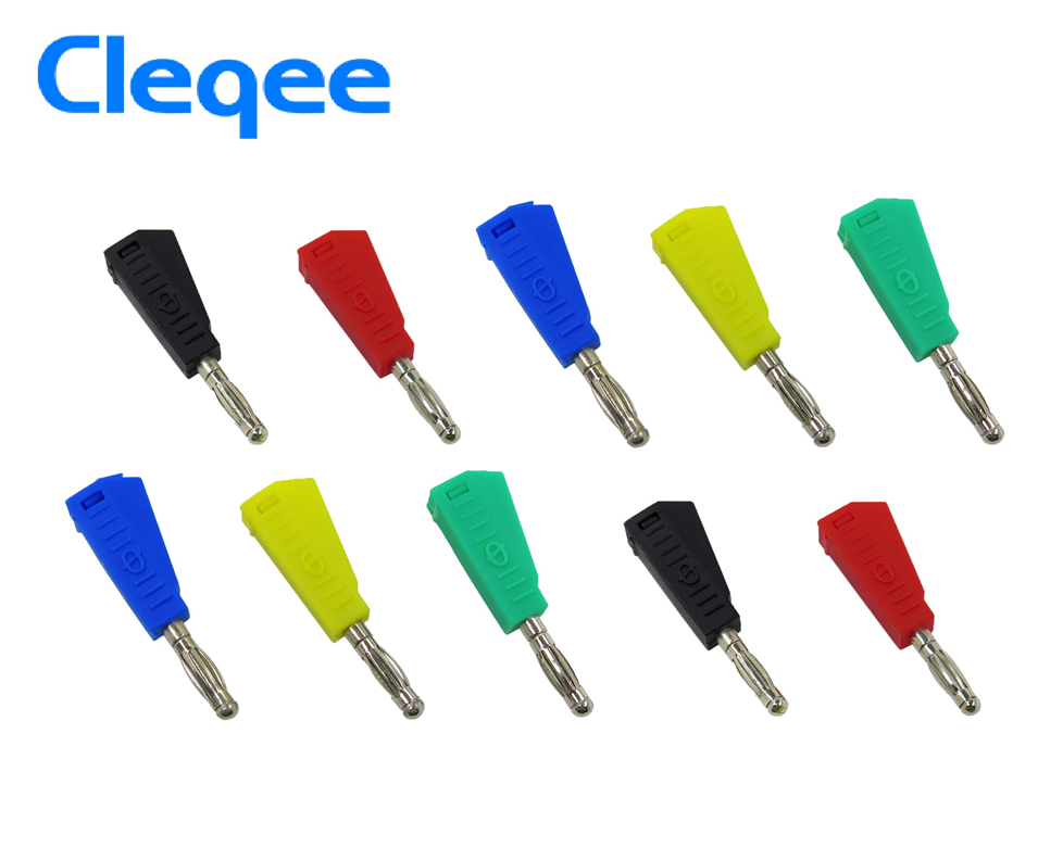 NEW Cleqee P3002 10pcs 4mm Stackable Nickel plated Speaker banana plug connector Test Probe Binding Post in Instrument Parts Accessories from Tools
