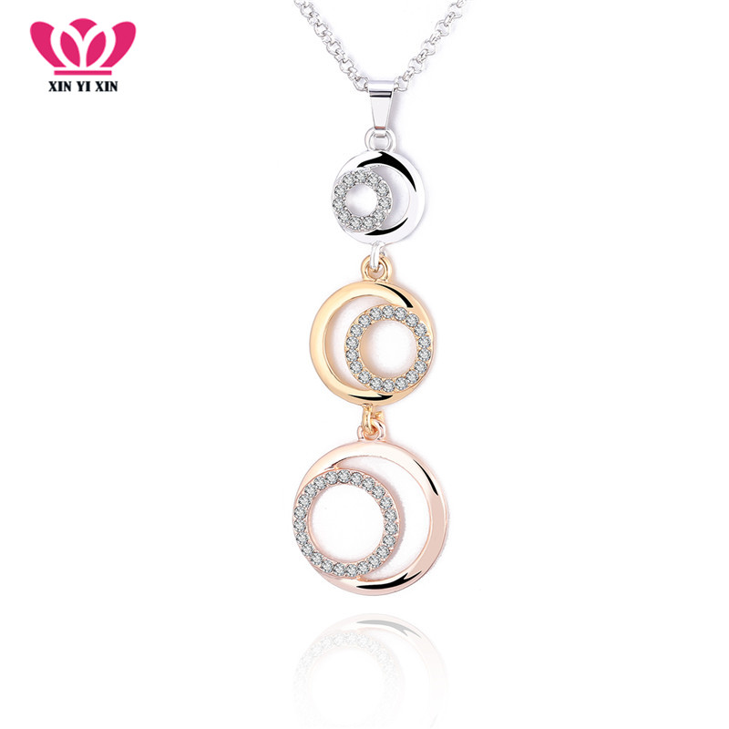 2018 Rose Gold Moon CZ Crystal Choker Neckalce 3 Circles Long Pendant Collier Fashion Necklace Statement Jewelry For Women Gift