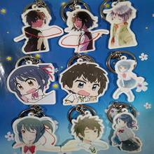 9pcs/set Impress Story Kimi no na wa Anime Your Name Uso Arima ShigatsuTaki Mitsuha Keychain Bag Pendant Keyring Portachiavi